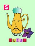 Tea history.  Letter S. Sleep. Cute cartoon english alphabet with colorful image and word. Stock Photo