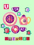 Tea history. Letter U. Utensil. Cute cartoon english alphabet with colorful image and word. Royalty Free Stock Images