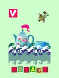 Tea history. Letter V. Voyage. Cute cartoon english alphabet with colorful image and word. Stock Photos