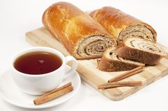 Tea and home sweet rolls with cinnamon Stock Photography