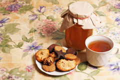 Tea with honey and cookies Stock Image