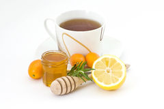 Tea, honey and lemon Stock Photos