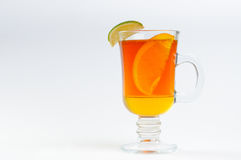 Tea with honey lemon in a glass. On a white background Stock Photos