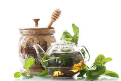 Tea with honey and mint Stock Photo