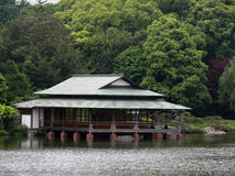 Tea house. Japanese tea house at the banks of a lake stock photography
