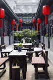 Tea house of the ancient city. The ancient city of Pingyao in China, here is the tea house that drinks tea and chats. Red lantern and ancient house ancient stock photography