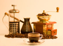 Tea-house and coffee ceremony. Set of objects for a tea-house and coffee ceremony Stock Photo