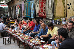 In the Tea House. Guests in the tea house drink tea and coffee on October 3, 2009, in Izmir, Turkey stock photos