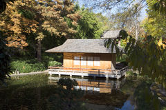 Tea house in Japanese garden autumn. Fort worth TX, USA royalty free stock image