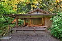Tea House at Japanese Garden in Fall Seaston Royalty Free Stock Photography
