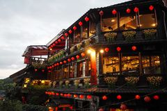 Tea House at Jiufen Old Street in Taipei, Taiwan stock photo