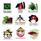 Tea house logo. Tea ceremony sign logo. Green tea logo. Stock Photos