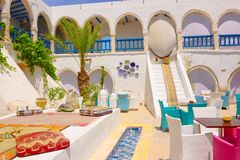 Tea House and Restaurant Outdoor Terrace, Djerba Market, Tunisia Stock Photography