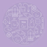 Tea icon located inside the circle on purple background. Banner or poster with tea icons. Royalty Free Stock Photos