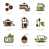 Tea icon set. Illustration in modern style for different use royalty free stock images