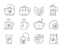 Tea icon set. Thin line vector illustration Royalty Free Stock Image