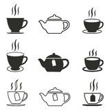 Tea icon set. Tea vector icons set. Black illustration isolated on white background for graphic and web design royalty free illustration