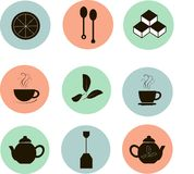 Tea icons, black marks on the red, blue, green, white background, flat icons. Bright pastel cool colors Stock Photos
