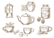 Tea icons with jam, honey, cups and teapots Royalty Free Stock Images