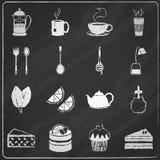 Tea icons set chalkboard Stock Photo
