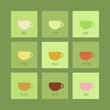 Tea icons set. Set of icons with cups of chinese and herbal tea. Vector isolated elements vector illustration