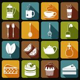 Tea Icons Set Flat Royalty Free Stock Photography