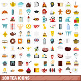 100 tea icons set, flat style Royalty Free Stock Images