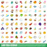100 tea icons set, isometric 3d style. 100 tea icons set in isometric 3d style for any design illustration vector illustration
