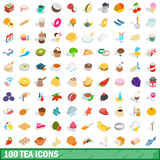 100 tea icons set, isometric 3d style Royalty Free Stock Photography