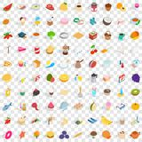 100 tea icons set, isometric 3d style. 100 tea icons set in isometric 3d style for any design vector illustration Royalty Free Stock Photos