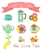 Tea Icons Royalty Free Stock Photos