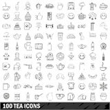 100 tea icons set, outline style Stock Photography