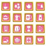 Tea and coffee icons pink. Tea icons set in pink color isolated vector illustration for web and any design royalty free illustration