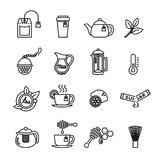 Tea icons set. Thin line vector illustration. Stock Photography