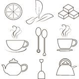 Tea icons, thin black lines on white. Lemon slices, tea leaves, sugar cubes, cups steam, spoons, teapots, tea bag. Design element, vector Royalty Free Stock Photos