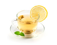 Tea In Cup With Leaf Mint And Lemon Stock Photo