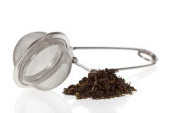 Tea infuser with Green Tea leaves Stock Photography