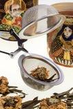 Tea Infusing Basket - Floral Green Tea Stock Photography
