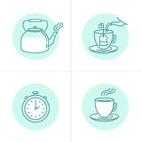 Tea infusion instructions and guide. Vector illustration in trendy linear style - tea infusion instructions and guide - icons and drawings for tea packaging or Stock Image