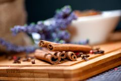 Tea ingredient mix with cinnamon sticks and lavander Royalty Free Stock Image