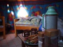 Tea Inside a Mongolian Ger Stock Image