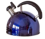 Tea kettle. Made of steal in deep blue colour isolated on white Royalty Free Stock Photo