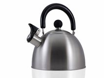 Tea Kettle. Isolated on white with a soft reflection Stock Image