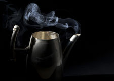 Tea kettle with boiling water Royalty Free Stock Images