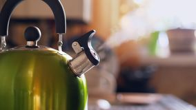 Tea Kettle With Boiling Water On Gas Stove. Middle shot. Shallow depth of field stock video