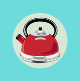 Tea kettle flat design  Royalty Free Stock Images