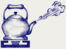 Tea kettle on gas stove. Doodle style Royalty Free Stock Photos