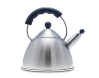 Tea kettle, isolated. Modern tea kettle on white, isolated with clipping path royalty free stock photography