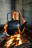 Tea Kettle on Open Fire Royalty Free Stock Photography