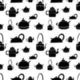 Tea kettle pattern bnw Royalty Free Stock Photo